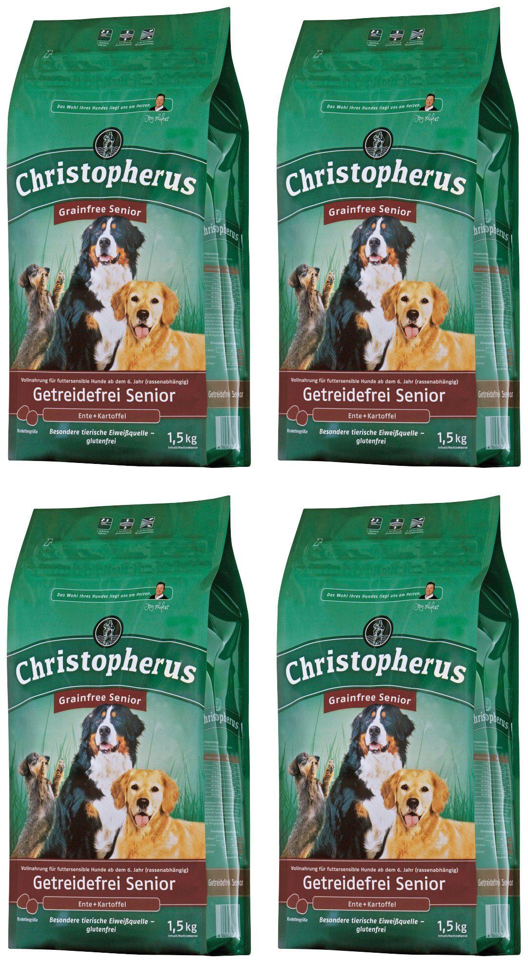 CHRISTOPHERUS Hundetrockenfutter »Getreidefrei Senior Ente und Kartoffel«, 4 Beutel á 1,5 kg