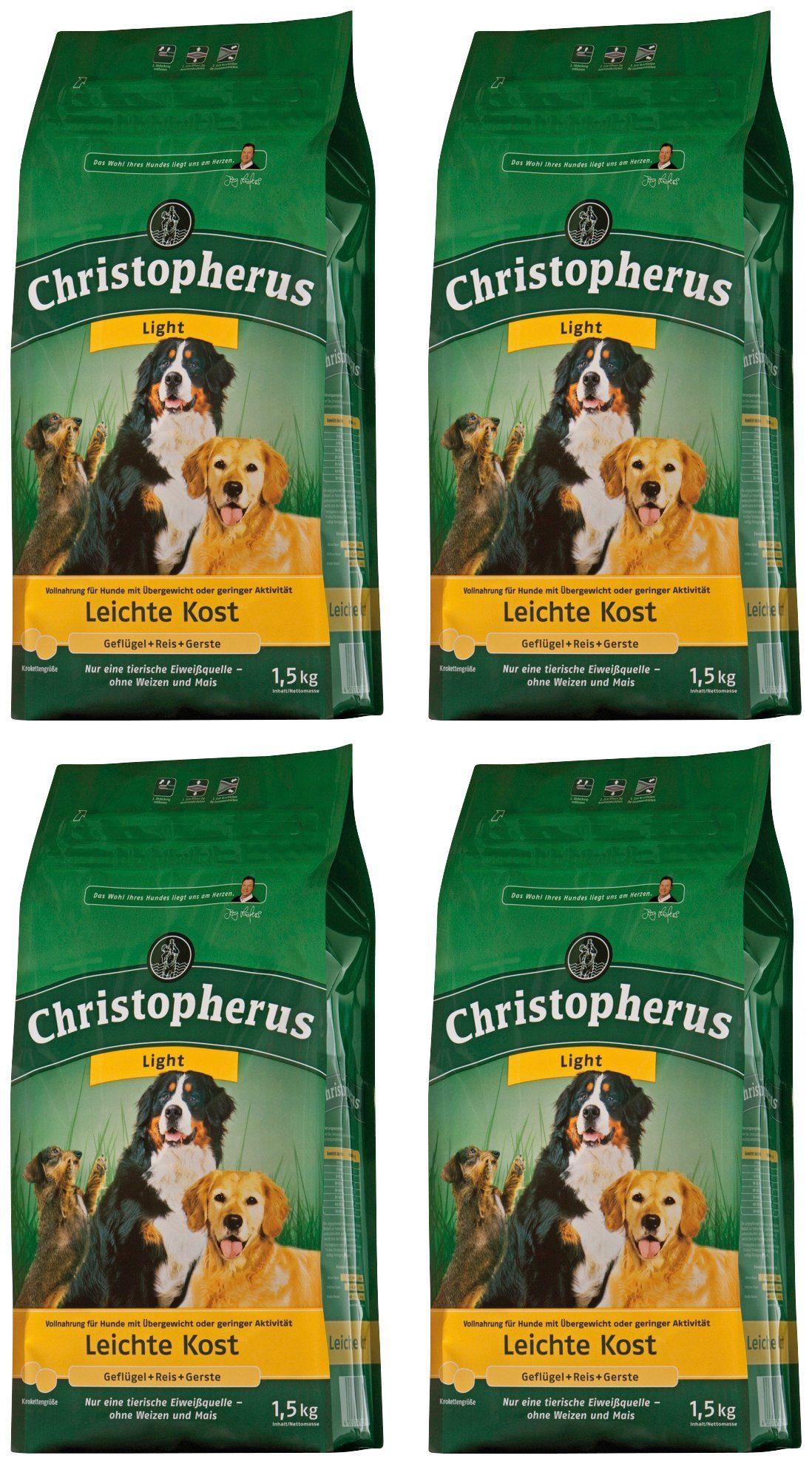 CHRISTOPHERUS Hundetrockenfutter »Leichte Kost Geflügel und Reis«, 4 Beutel á 1,5 kg