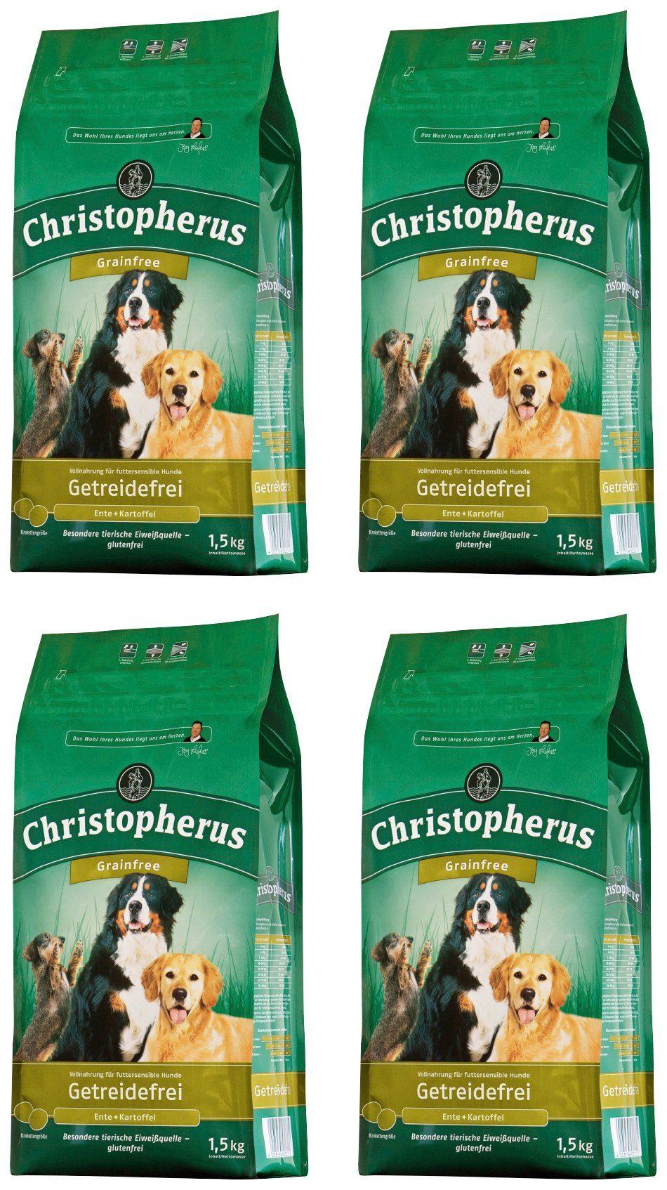 CHRISTOPHERUS Hundetrockenfutter »Getreidefrei Ente und Kartoffel«, 4 Beutel á 1,5 kg