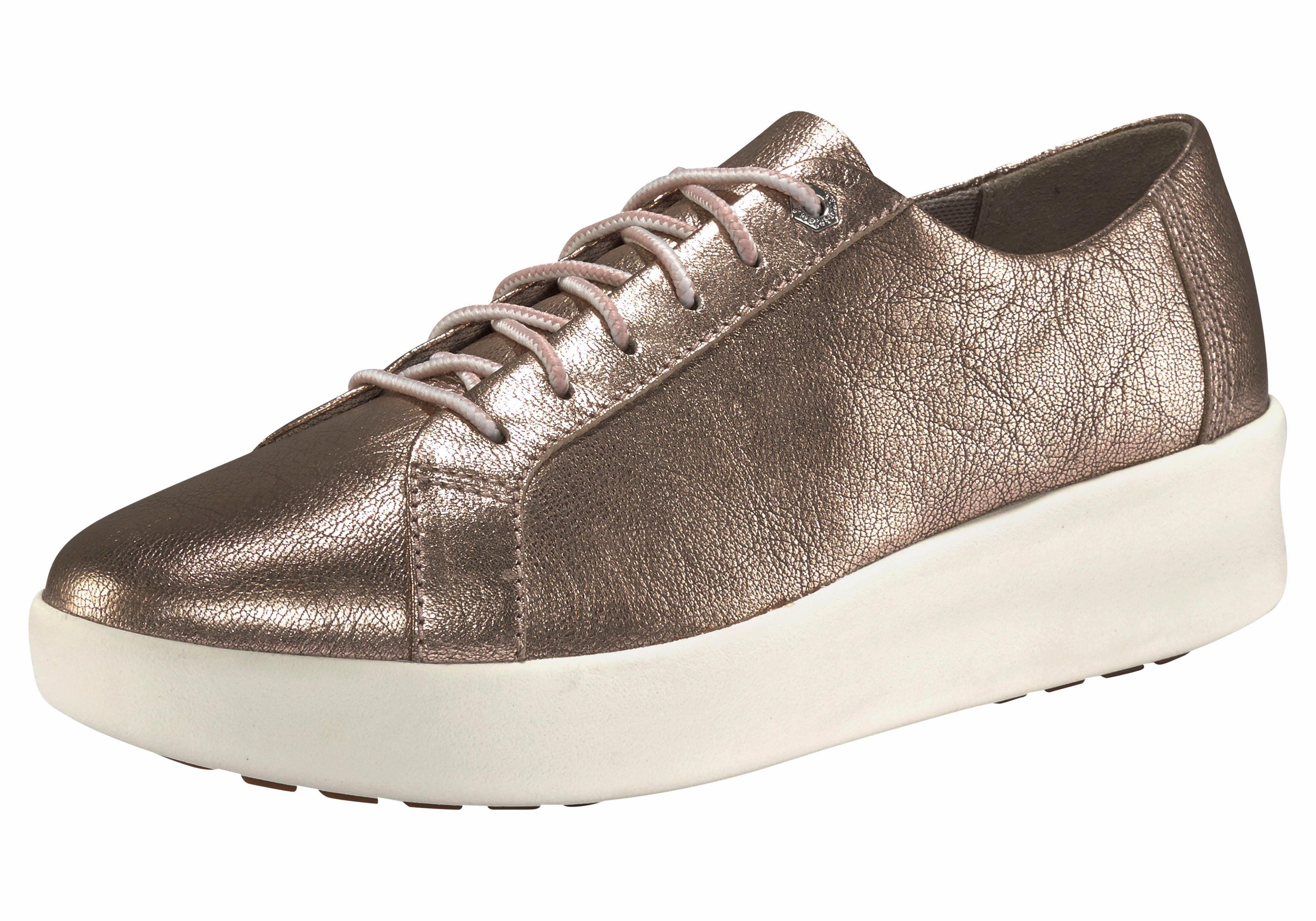 Pepe Jeans »ABERLADY DAISY« Sneaker, mit sommerlichem Lasercut, goldfarben, roségoldfarben
