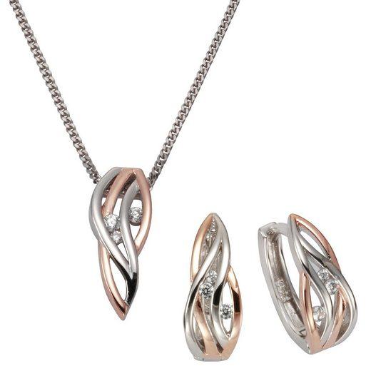 Zeeme Set Anhänger, Kette + Creolen »925/- Sterling Silber zweifarbig«