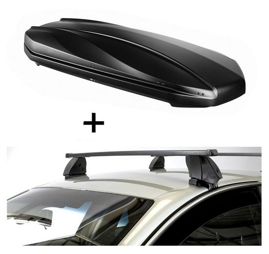 VDP Fahrradträger, DACHBOX STRIKE 440 Liter schwarz matt + Dachträger K1 MEDIUM kompatibel mit Audi A8 (D5/4N) (4Türer) ab 17