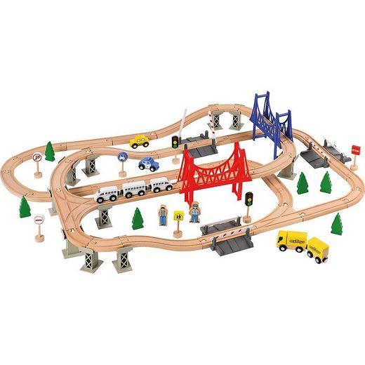 myToys Spielzeugeisenbahn-Set »Holzeisenbahn-Spielset, 84-tlg.«