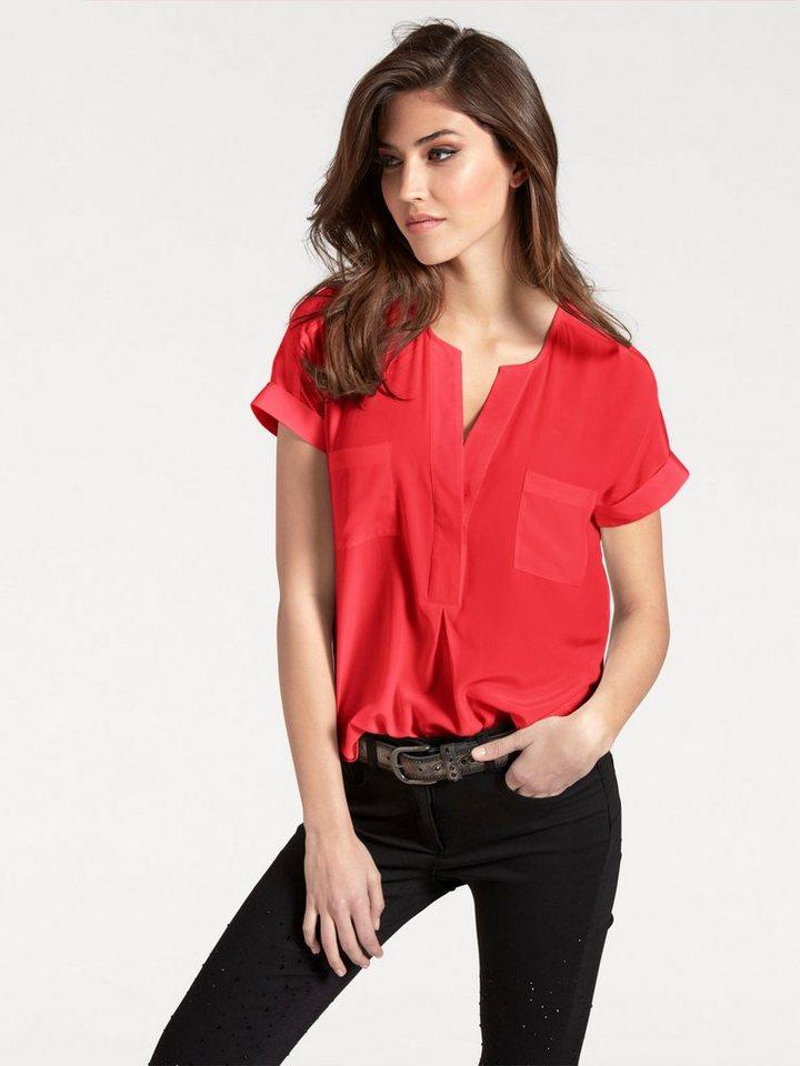 heine TIMELESS Seidenbluse mit aufgesetzten Taschen   Bekleidung > Blusen > Seidenblusen   Rot   heine