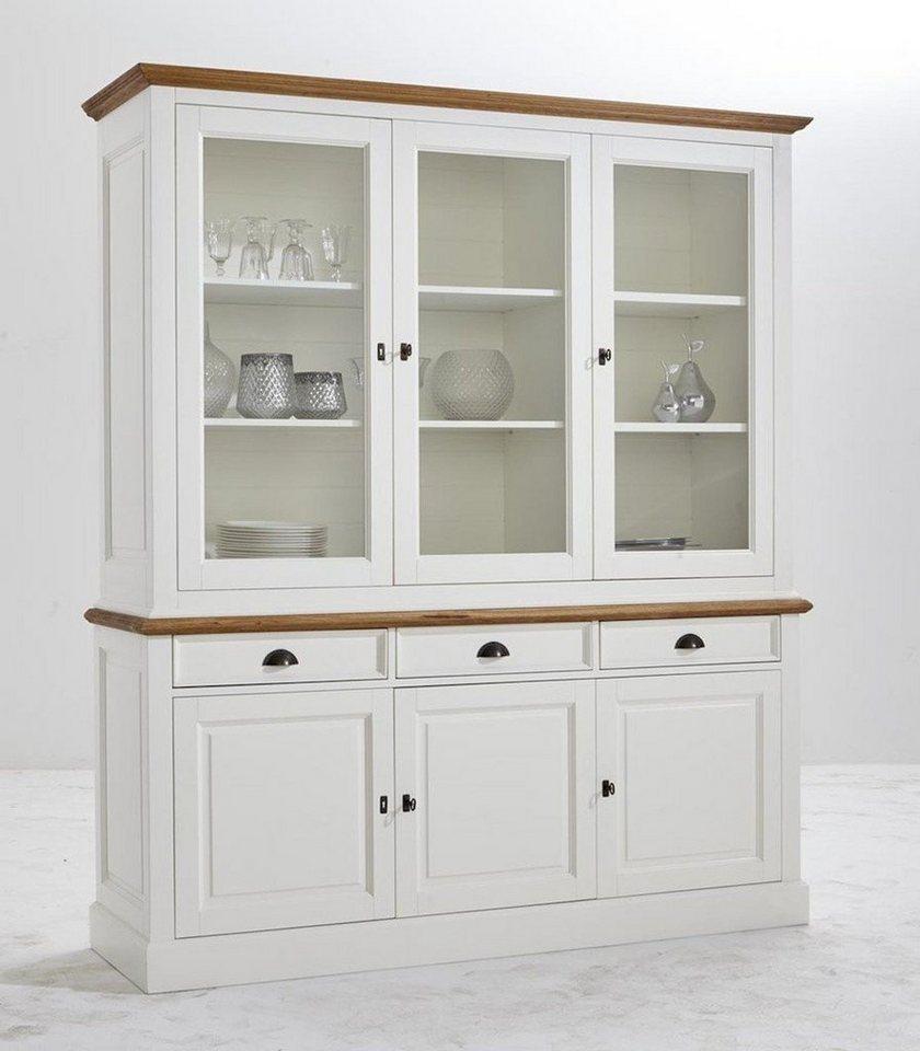 Kasper Wohndesign: Kasper-Wohndesign Küchenschrank Vitrine Groß Weiß Und