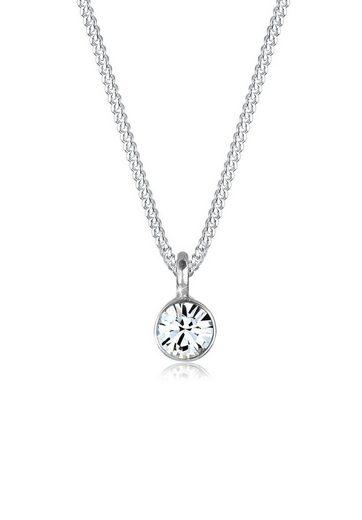Elli Kette mit Anhänger »Solitär Rund Swarovski® Kristall 925 Silber«, Kreis