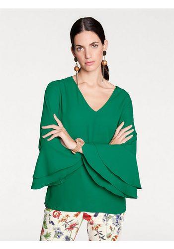 Damen heine STYLE kragenlose Bluse mit Volant grün | 08934958055954