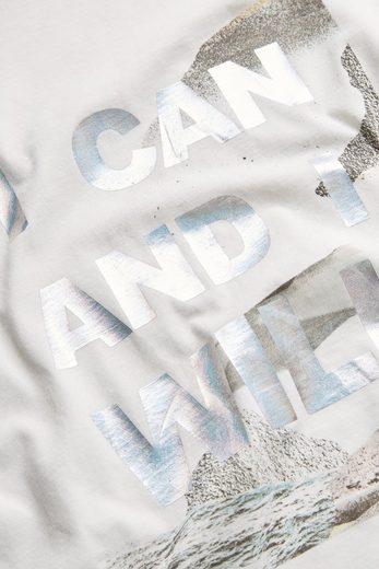 Next T-Shirt mit Spruch und Spitzenbesatz