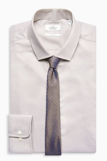 Next Structured Slim-fit Shirt With Tie Pieces In Set 2