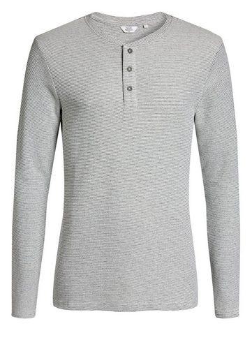 Next Fein gestreiftes Grandad-Shirt mit langen Ärmeln