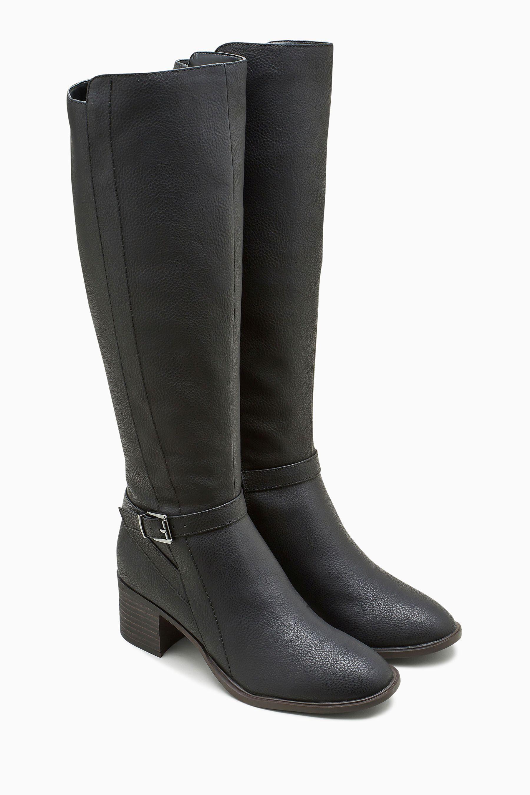 Next Hoher Stiefel mit Blockabsatz und Reißverschluss online kaufen  Black