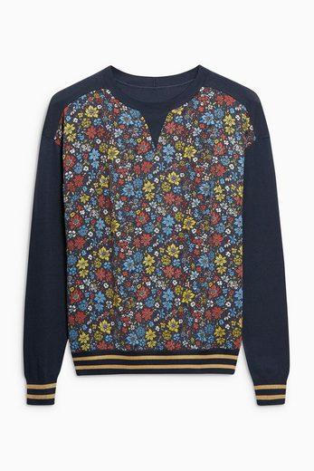 Next Bedruckter Pullover mit gewebter Vorderpartie