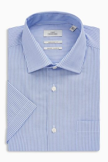 Next Striped Short-sleeved Shirt In A Regular Fit With Pocket