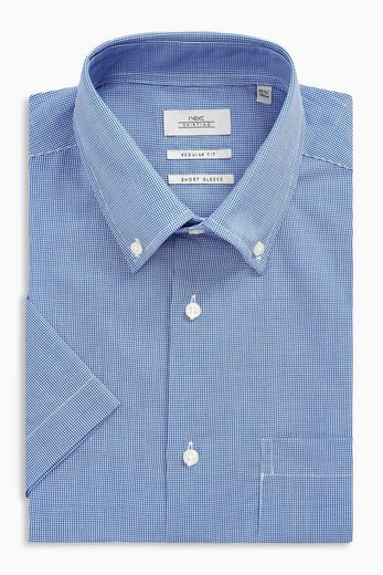 Next Kurzarm-gingham Shirt In Normal Passform With Pocket