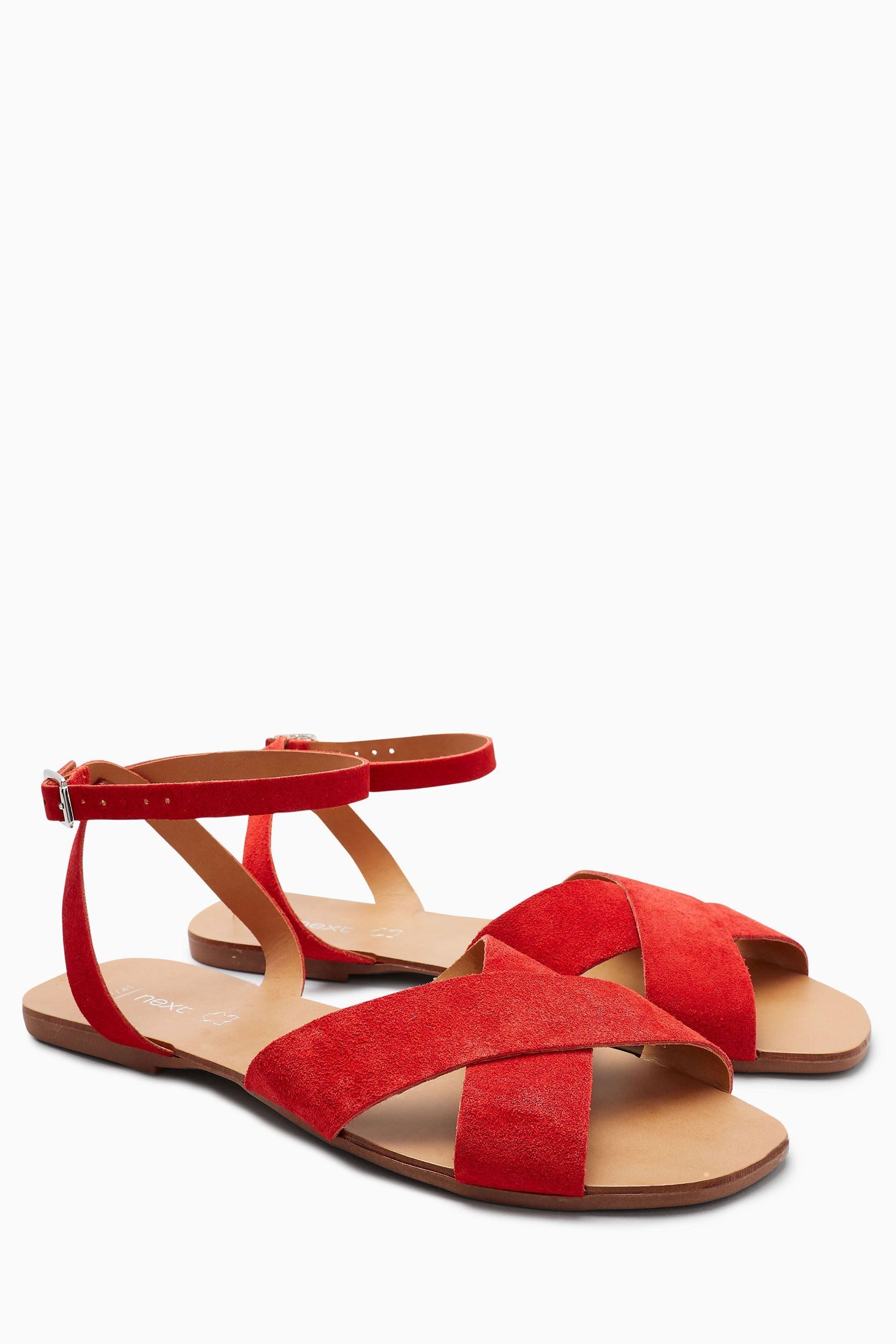 Next Veloursleder-Sandale mit überkreuzten Riemen  Red