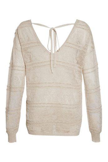 Next Metallic-Pullover mit Lochspitze