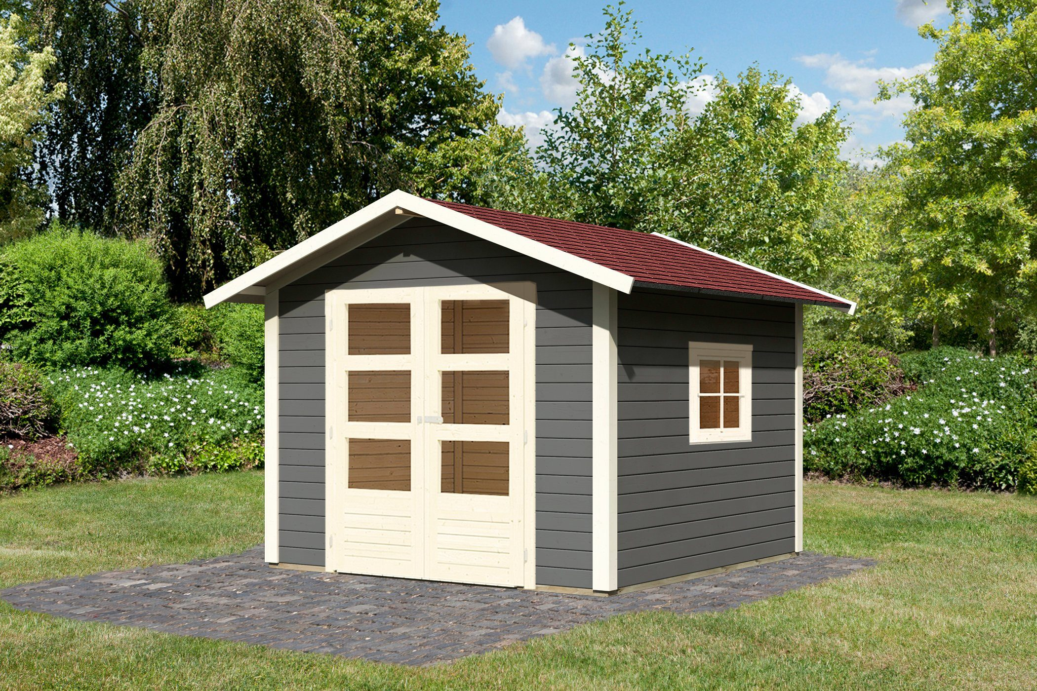 KONIFERA Set: Gartenhaus »Hellersdorf 2«, BxT: 330x326 cm, inkl. Dachschindeln