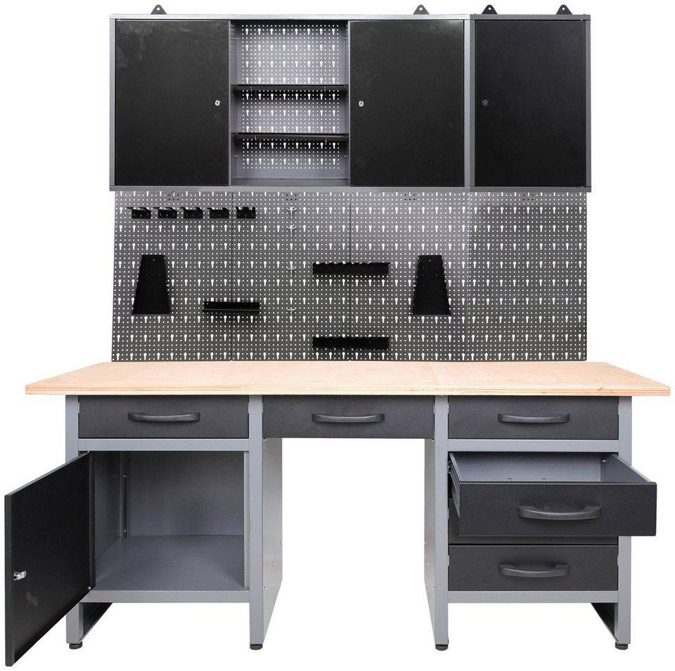 ONDIS24 Werkstatt-Set »5-tlg«, Werkbank mit Lochwand inkl ...