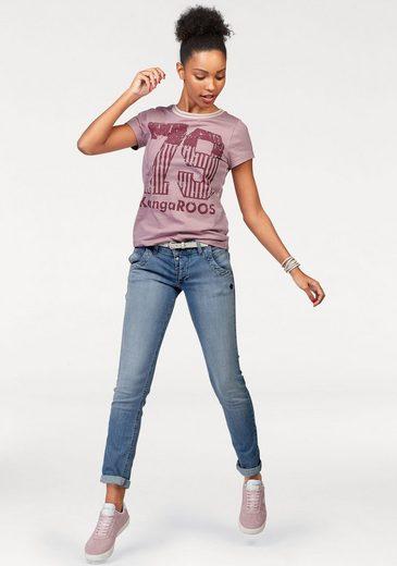 KangaROOS T-Shirt, mit großem Druck vorne und gerippter Ausschnitt-Kante