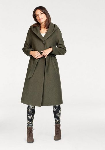 Boysens Long Coat, With Tie Belt And Large Hood