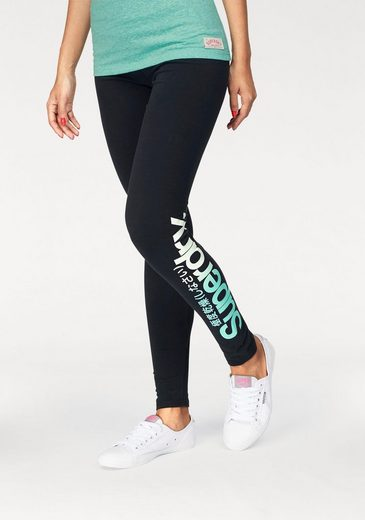 Superdry Leggings CORE OMBRE LOGO LEGGING, mit mehrfarbigem Logo-Print