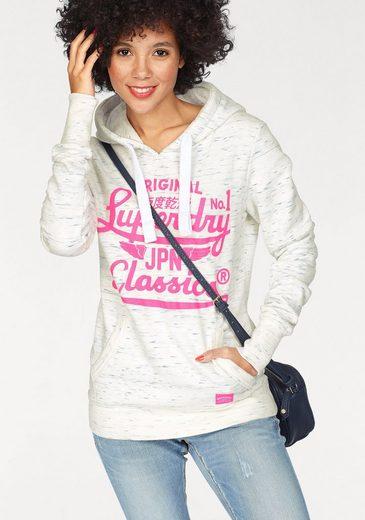 Superdry Kapuzensweatshirt STACKER WAVES ENTRY HOOD, mit pinkem Logo-Print