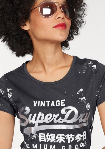 Superdry T-Shirt PREMIUM GOODS DOODLE ENTRY TEE, mit Farbklecksen
