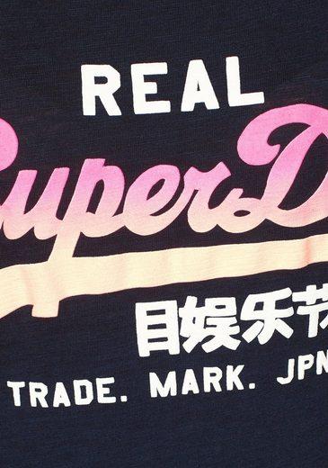 Superdry T-Shirt VINTAGE LOGO OMBRE ENTRY TEE, mit Logo-Print in Dip Dye-Optik