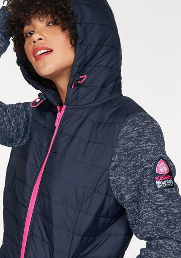 Superdry Steppjacke SD STORM HYBRID ZIPHOOD, im angesagten Materialmix