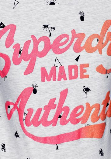 Superdry T-Shirt MADE AUTHENTIC AOP ENTRY TEE, im sommerlichen Allover-Design
