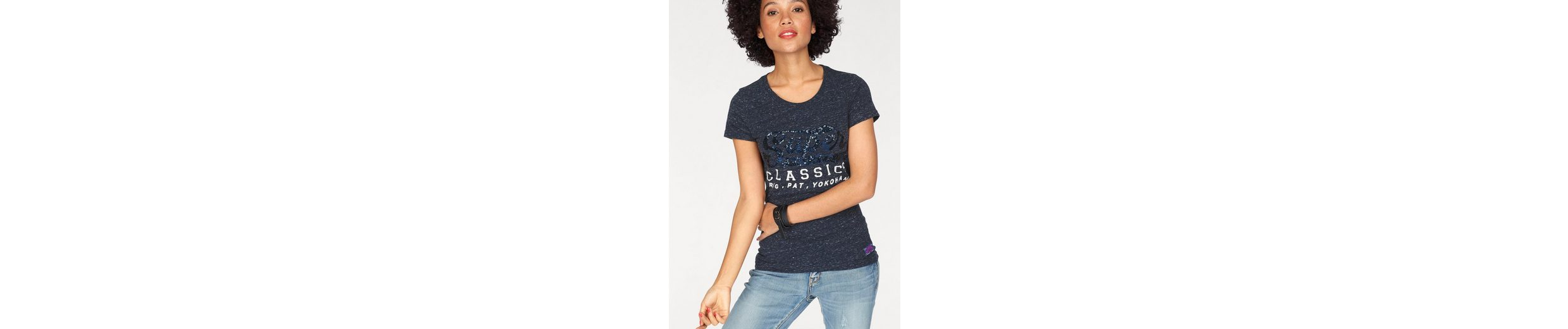 Shirt TEE mit Applikation ENTRY T SEQUIN Superdry Pailletten Logo CLASSIC gw7Zqnf