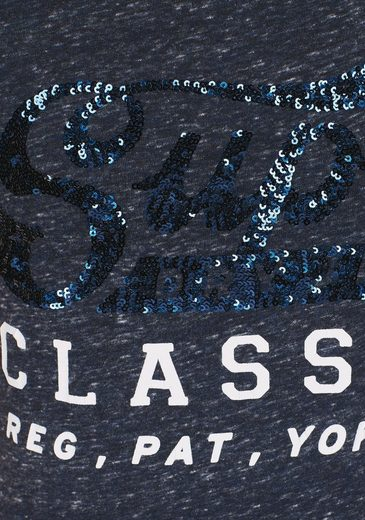 Superdry T-Shirt CLASSIC SEQUIN ENTRY TEE, mit Logo Pailletten-Applikation