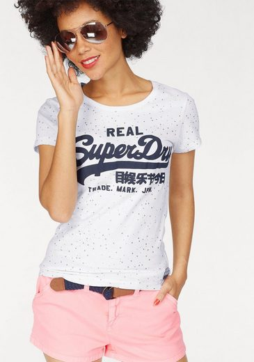 Superdry T-Shirt VINTAGE LOGO STAR AOP ENTRY TEE, im glitzernden Allover-Design