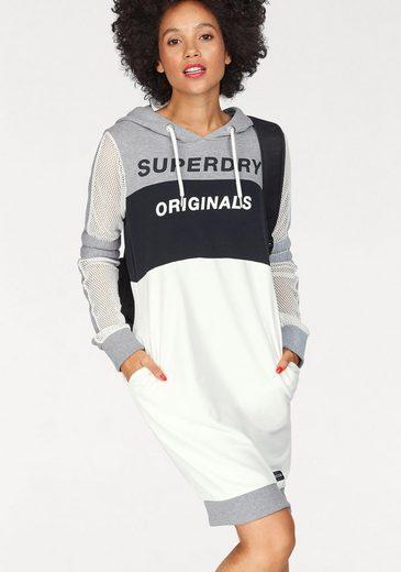 Superdry Sweatkleid MESH SLEEVE HOOD DRESS, mit Netzeinsätzen und Logo-Print