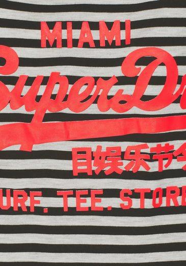 Superdry T-Shirt VINTAGE LOGO STRIPE ENTRY TEE, mit neonfarbigen Logodetails