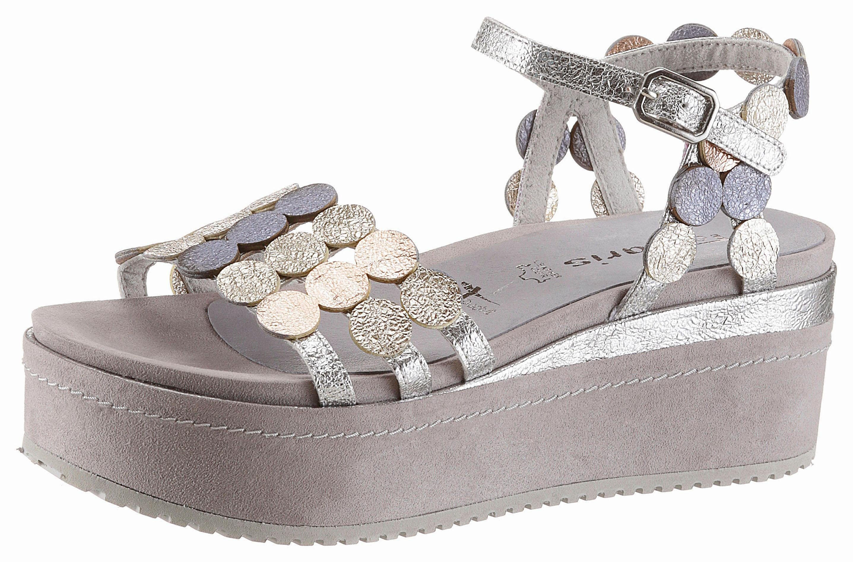 Tamaris Sandalette, im Metallic-Optik kaufen  grau