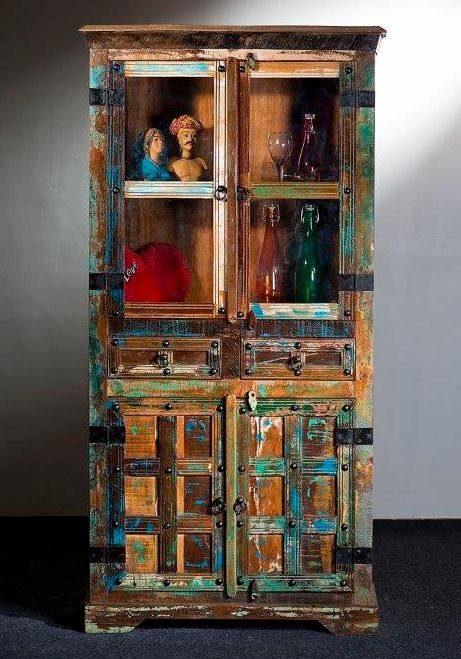 Home affaire Stauraumvitrine »Delhi« mit 4 Türen und 2 Schubladen, Höhe: 180 cm