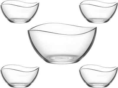 van Well Schüssel »Malaga«, Glas, (Set, 5-tlg), mit wellenförmigen Rand