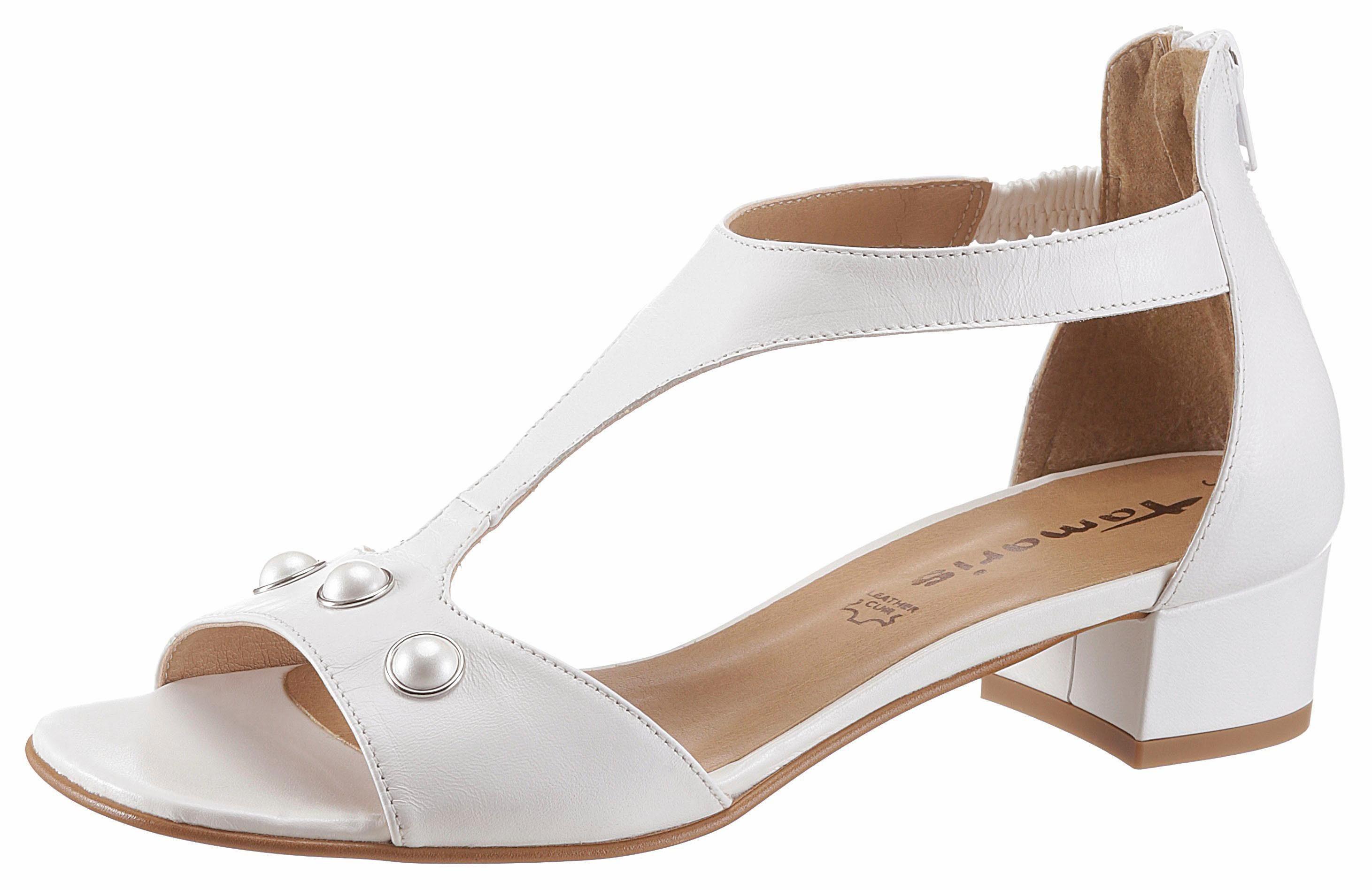 Tamaris Sandalette, mit Perlenverzierung kaufen  weiß
