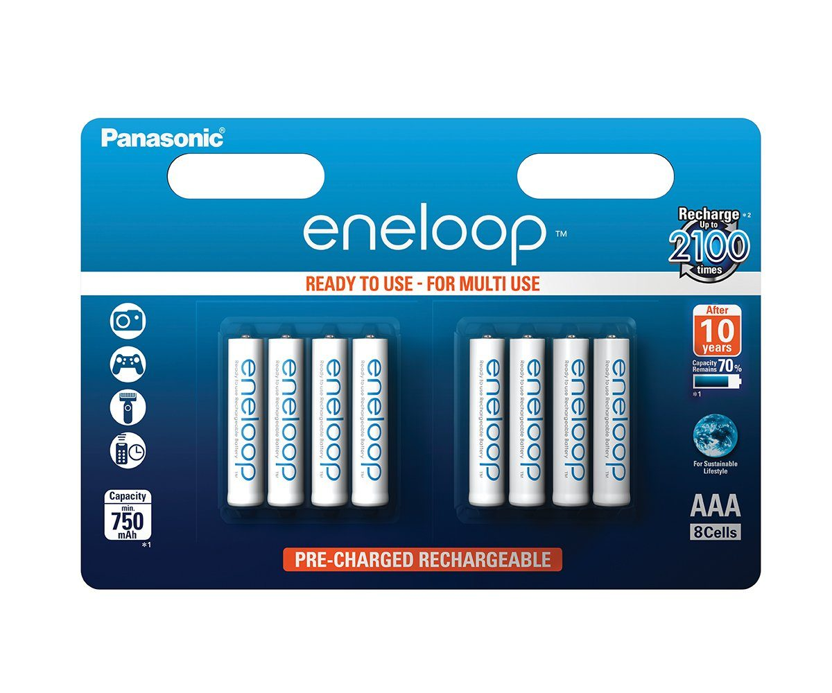 Panasonic 8 recyclebare, vorgeladene Akkus, eneloop AAA (Micro) »BK-4MCCE/8BE«