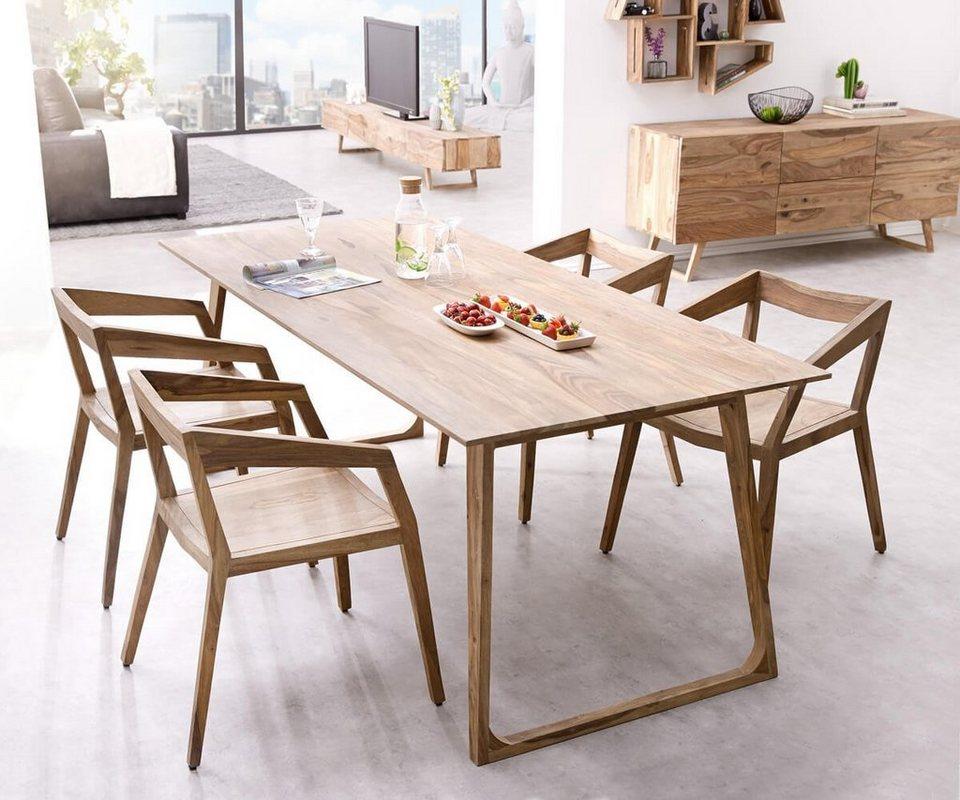 DELIFE Designer Esstisch Wyatt 200x90 cm, Designorientierter Esstisch aus massivem Akazienholz ...