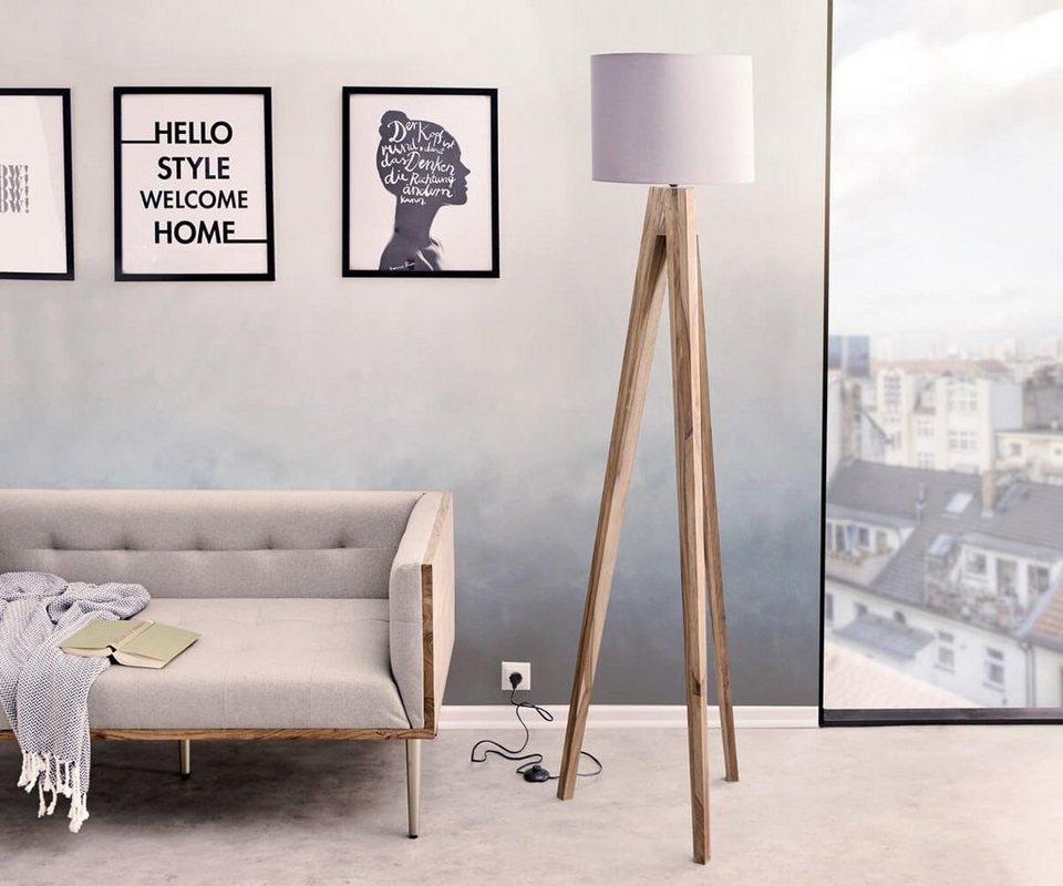 delife stehleuchte wyatt sheesham natur drei beine otto. Black Bedroom Furniture Sets. Home Design Ideas