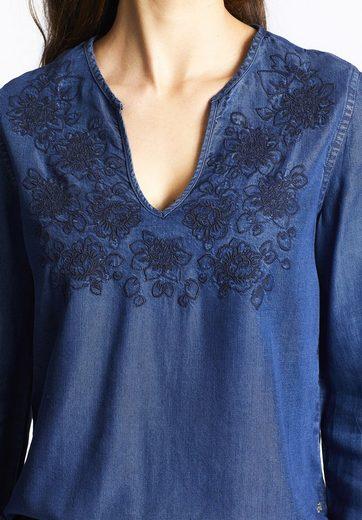 khujo Shirtbluse IKARA, mit floraler Stickerei auf der Front