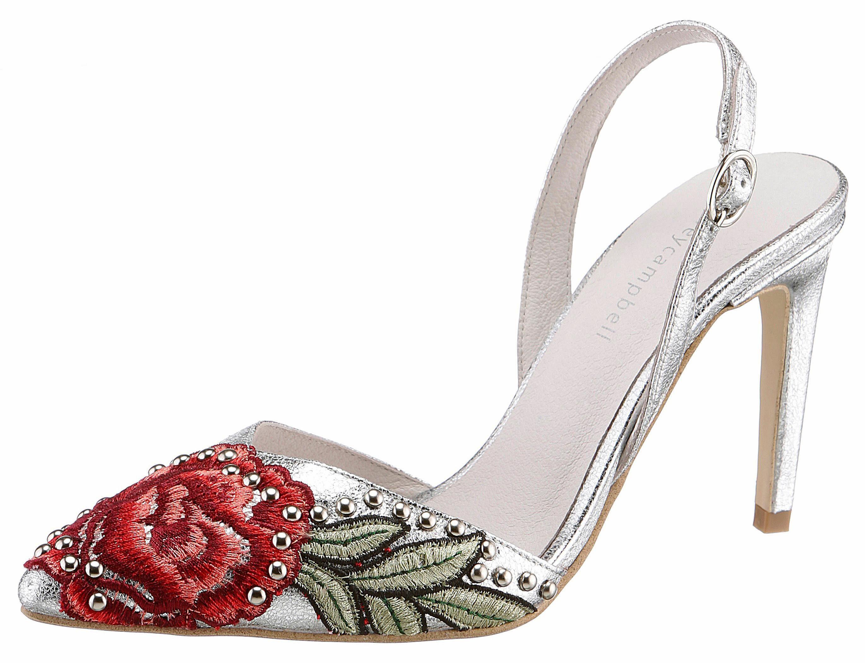 Jeffrey Campbell High-Heel-Pumps, mit auffälliger Blütenstickerei online kaufen  silberfarben-rot