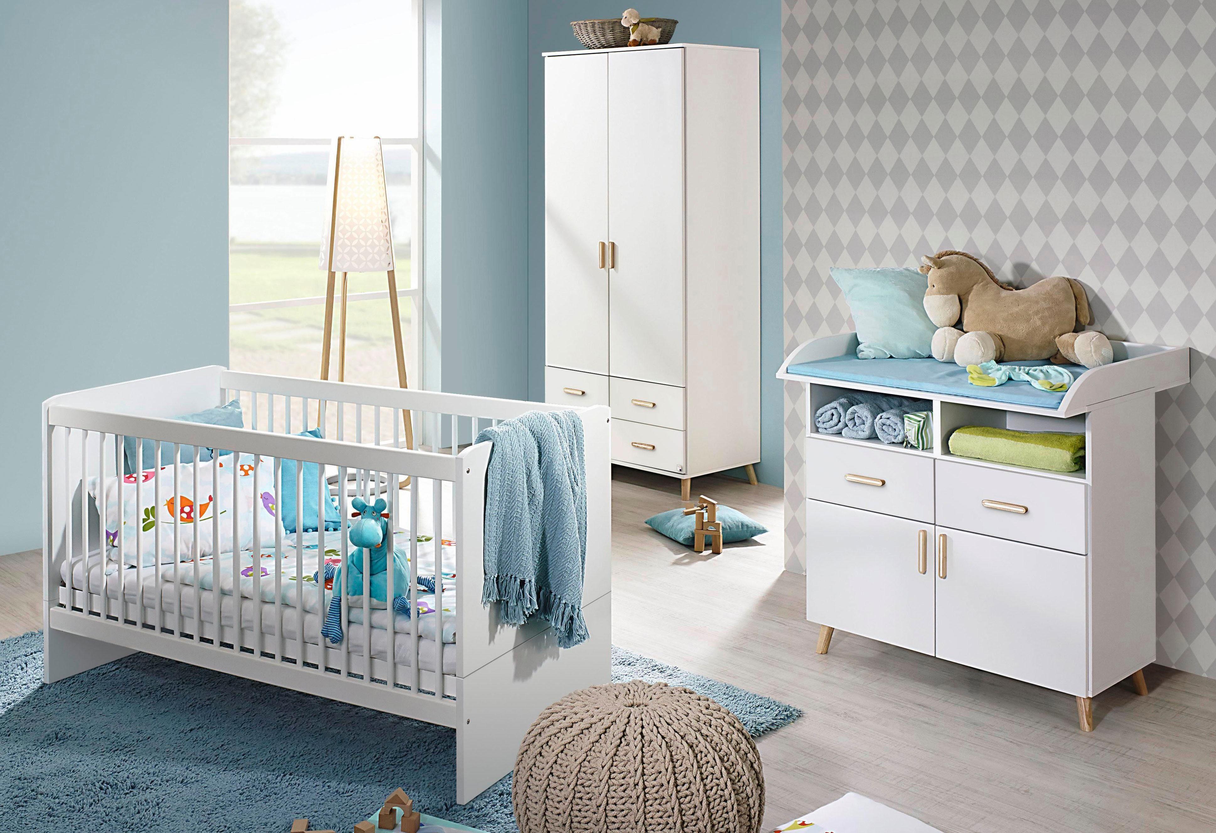 Komplett Babyzimmer »Potsdam« Babybett + Wickelkommode + 2-trg. Kleiderschrank, (3-tlg. Set) in alpinweiß