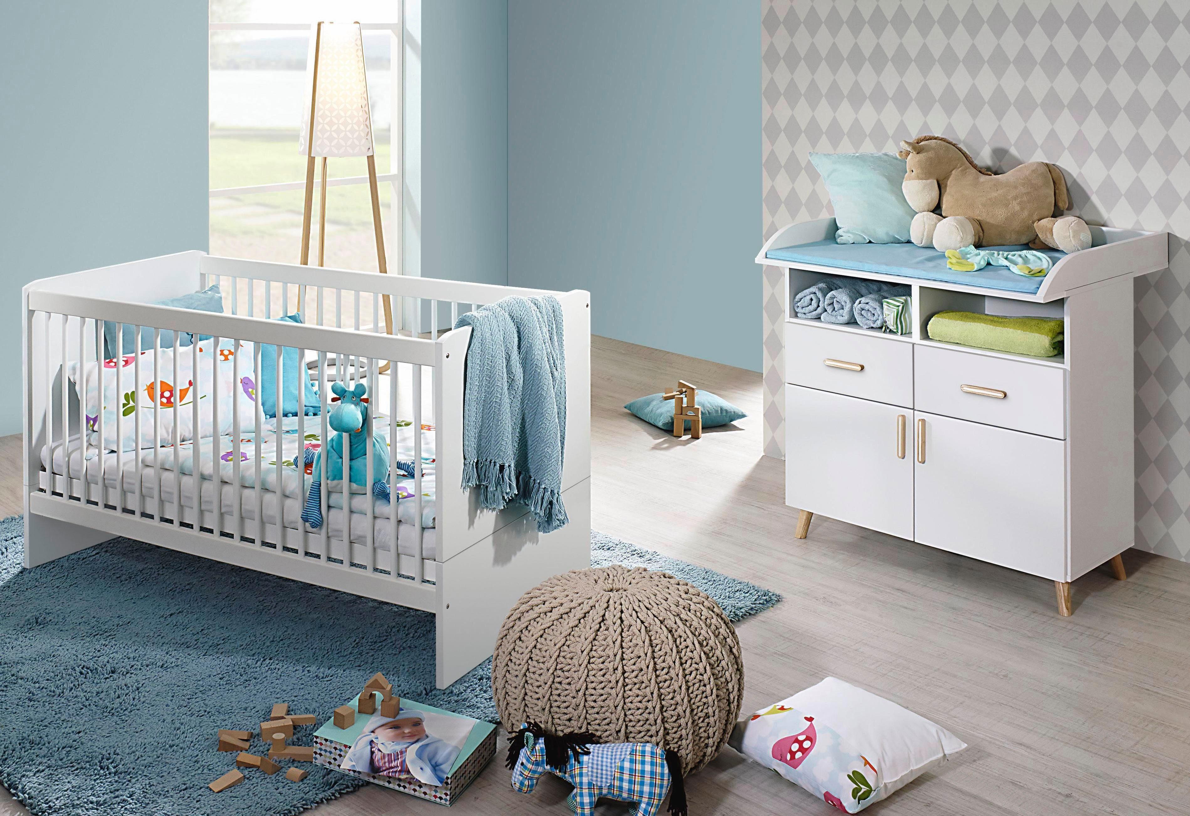 Babyzimmer Spar-Set »Potsdam«, Babybett + Wickelkommode (2-tlg.) in alpinweiß