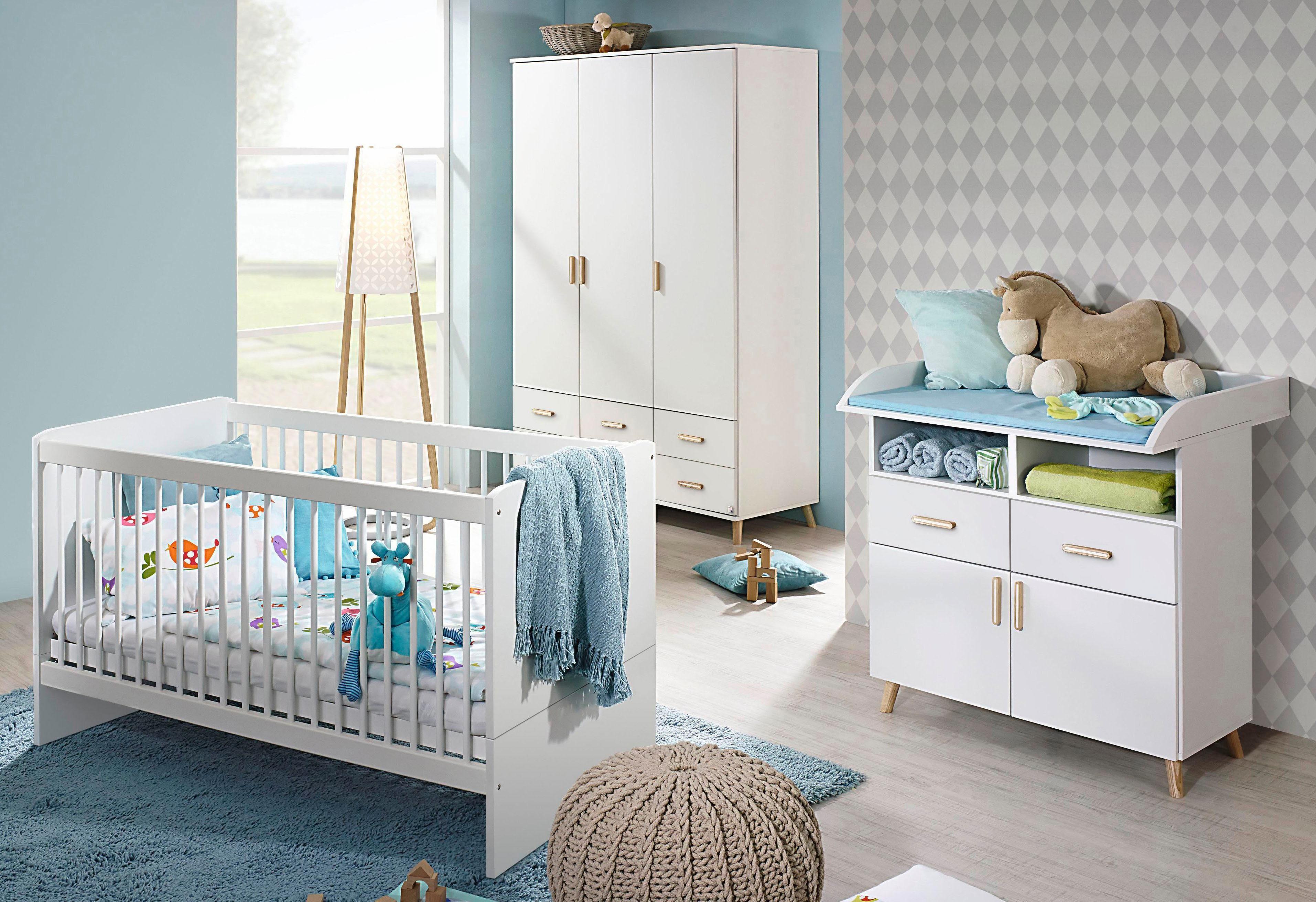Komplett Babyzimmer »Potsdam« Babybett + Wickelkommode + großer Kleiderschrank, (3-tlg. Set)in alpinweiß