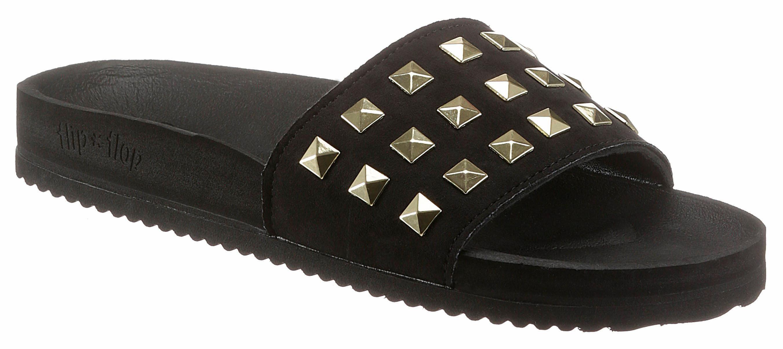 Flip Flop Pantolette, mit rockigen Nieten kaufen  schwarz-goldfarben