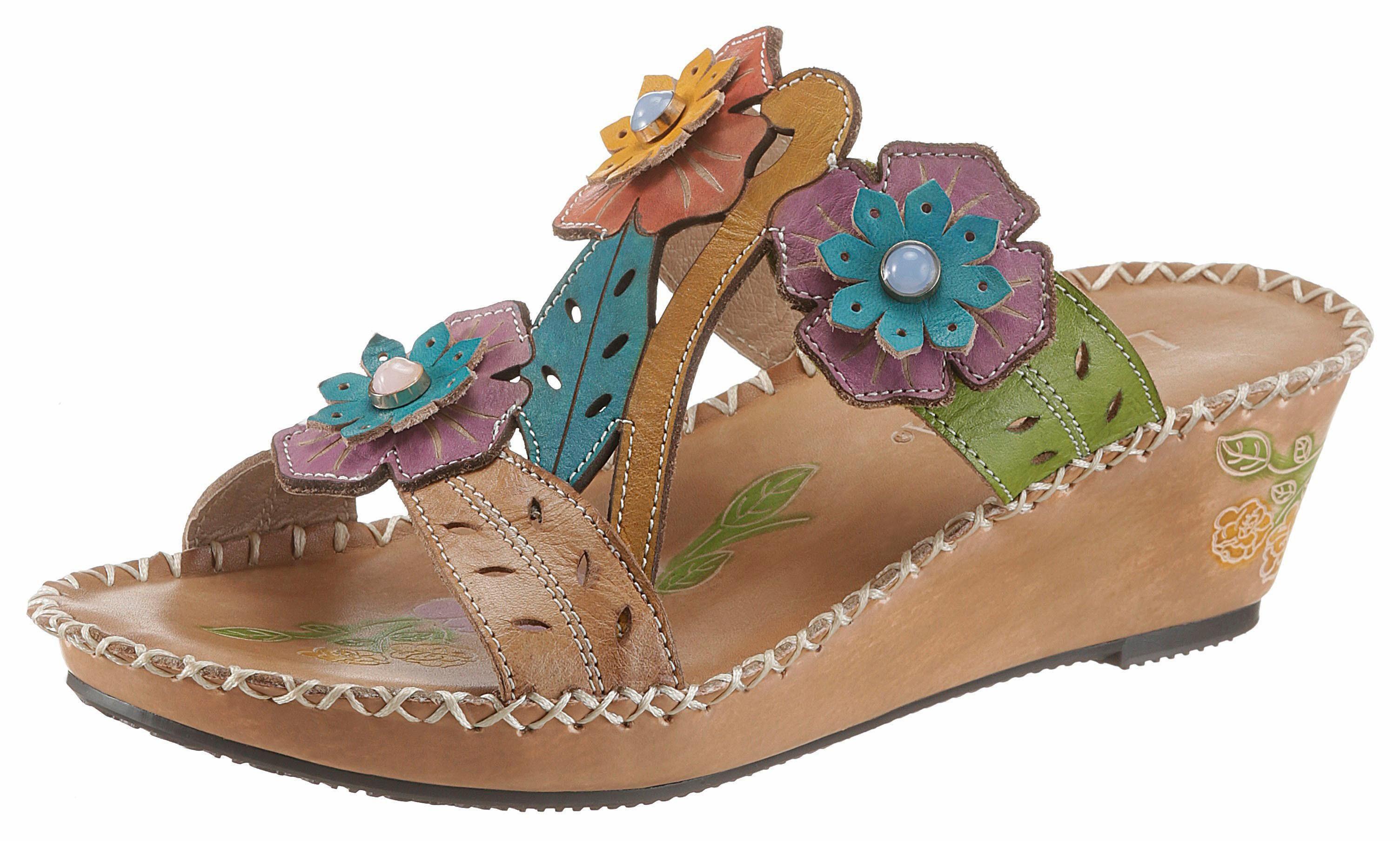 LAURA VITA »Betsy« Pantolette, mit bunten Blüten, bunt, EURO-Größen, beige-bunt