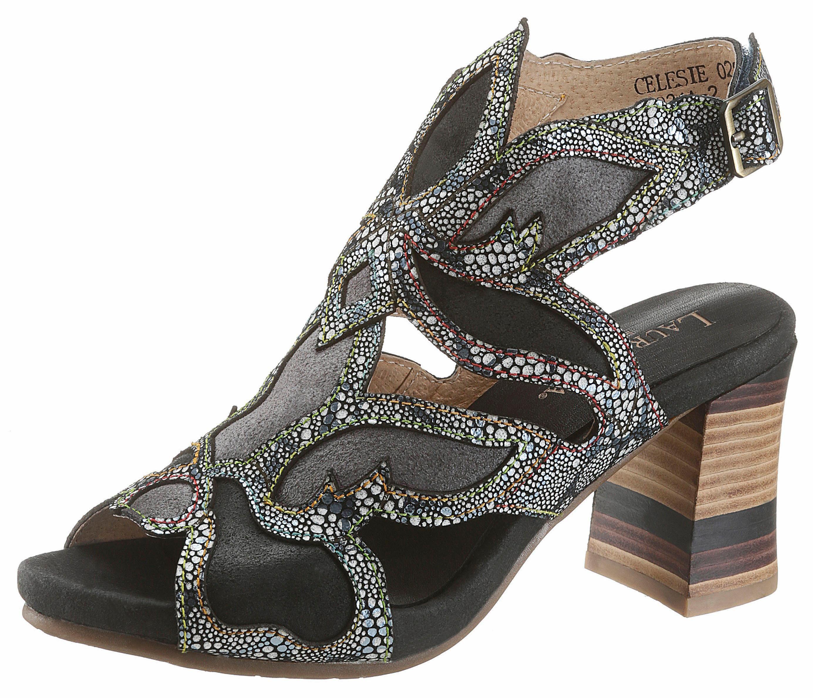 LAURA VITA »Albane« Sandalette, Mit schönem LaserCut-Muster, schwarz, schwarz-grau
